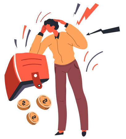 Depressed man losing savings or invested money vector