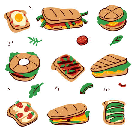 Sandwiches and desserts with buns and fillings vector Banque d'images - 152010380