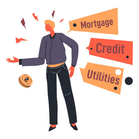 Unemployment and bankruptcy worries of character that needs money Banque d'images - 152009726