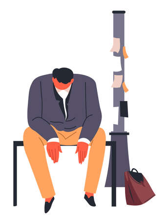 Stressed unemployed man sitting by pole with ads Illustration