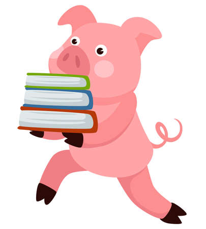 Small pig animal carrying book, school character vector