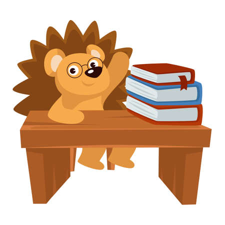Hedgehog sitting by desk loaded with books in school