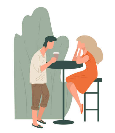 Couple drinking coffee in cafe, friends communicating outdoors