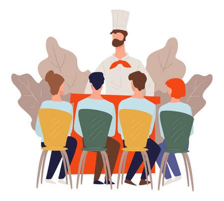 Culinary classes or course, tv show masterclass vector Ilustração