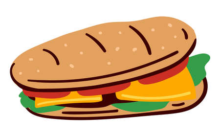 Sandwich made of bread, veggies and meat menu icon