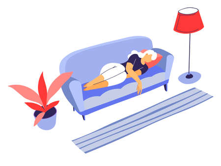 Bored female character laying on sofa, sad or tired personage Illustration