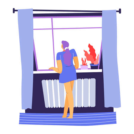 Woman looking out of window from home vector