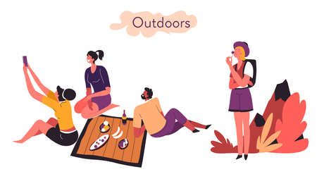 Extrovert and introvert comparison of activities outdoors vector Ilustração