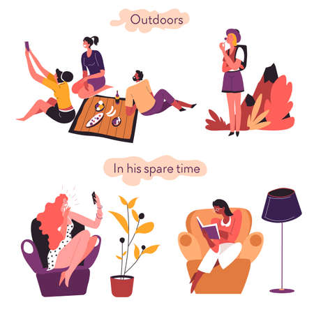 Extrovert and introvert comparison outdoors and in spare time  イラスト・ベクター素材
