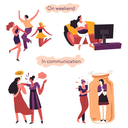 Extrovert and introvert comparison on weekends and in communication  イラスト・ベクター素材