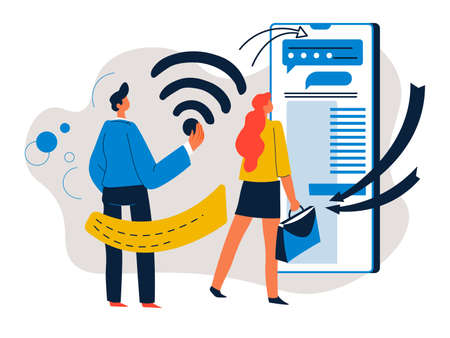 Modern technologies for business and development, people and wifi