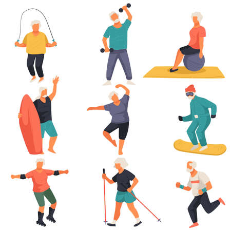 Senior characters leading active lifestyle, doing exercises vector
