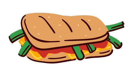 Sandwich with vegetable, sauces and meat, meal menu