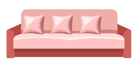 Vintage sofa with cushions, couch with pillows vector