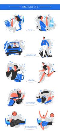 Changing bad habits of life, healthy and active lifestyle Ilustración de vector