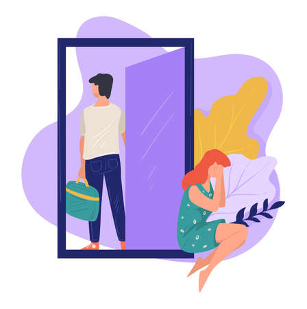 Husband leaving crying wife, divorce and separation vector