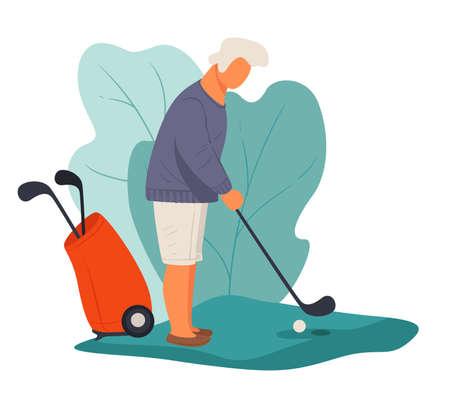 Senior man playing golf hitting ball, active pensioner