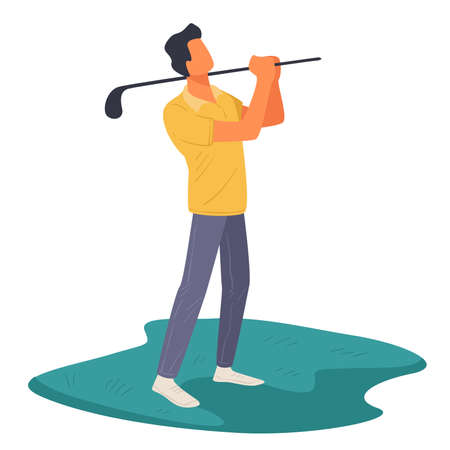 Male character playing golf outdoors, professional golfer outdoors