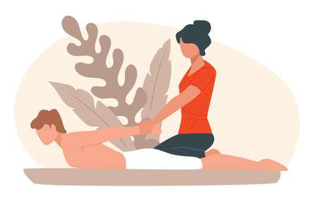 Back massage at spa salon, relax and treatment