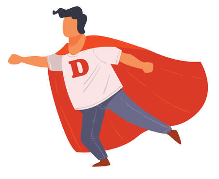 Super hero character, boy wearing red cape vector