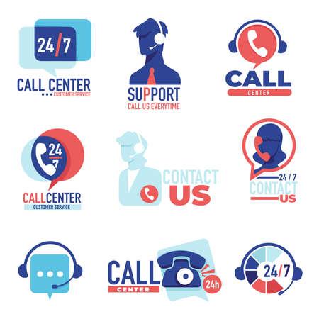 Call center, customer support 24 7 communication and help vector Vektoros illusztráció