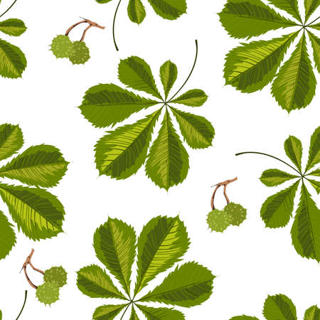 Chestnut tree leaves seamless pattern of green foliage