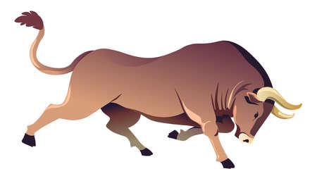 Running buffalo with sharp horns, ox or bull