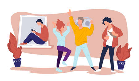 Partying friends or university students in dorm vector
