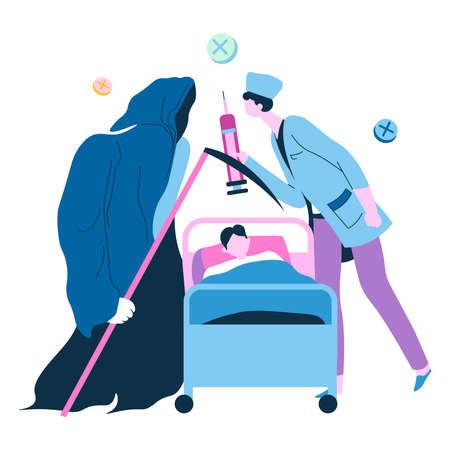 Doctor fight against grim reaper for life of patient Illusztráció