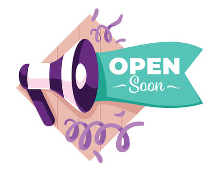 Opening soon shop or store announcement with megaphone