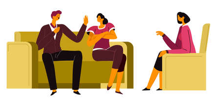 Family therapy of couple, man and woman on counseling