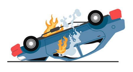 Burning car with damaged body, traffic accident or breakage
