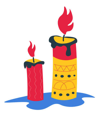 Candle with flame decorated with ornaments and geometric shapes