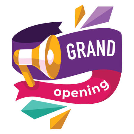 Grand opening soon, banner with megaphone and ribbon