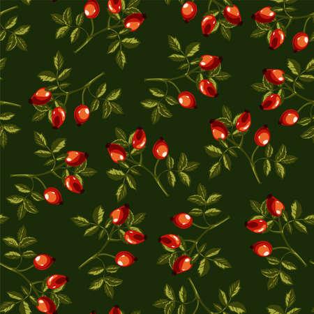 Eglantine or dog rose seamless pattern on green
