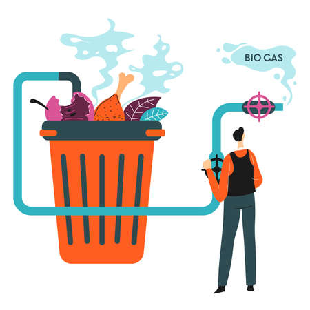 Recycle household waste to bio gas, environmental care Vector Illustratie