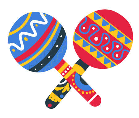 Mexican musical instrument with ornaments, maracas souvenir vector Vector Illustration