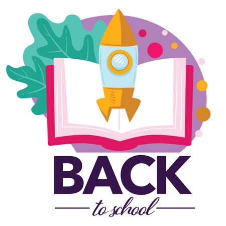 Back to school, open book with launching rocket