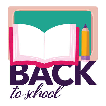 Back to school, book with pencil and blackboard