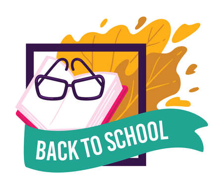 Back to school, banner with books and glasses