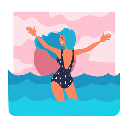 Woman in swimming suit on holidays by seaside vector Illustration