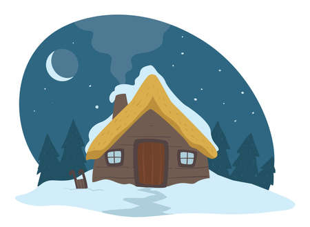 House covered with snow, evening winter landscape and building Иллюстрация
