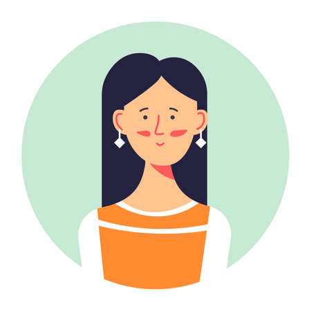 Brunette female character portrait, profile of stylish woman