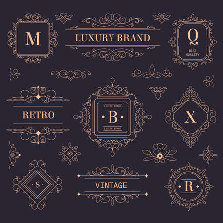 Luxury brand vintage labels and logotypes with ornaments