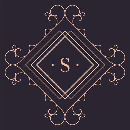 Elegant retro logotype for luxury brand, gold logo