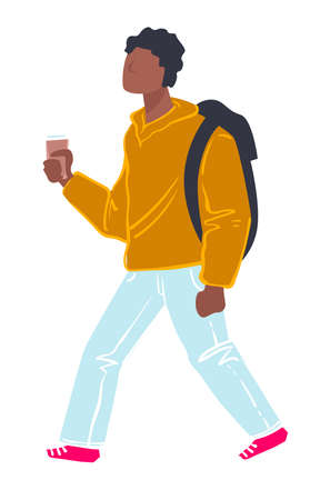 Student walking holding cup of coffee, teenage student