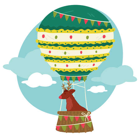 Christmas reindeer flying in hot air balloon vector Vettoriali