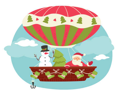 Xmas characters in air balloon, Santa and pine Vettoriali