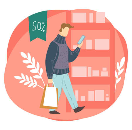 Shopping man with bags looking at phone screen