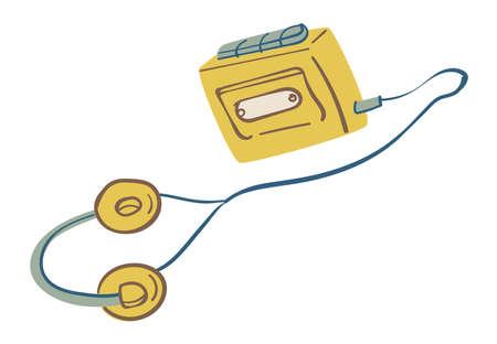 Listening oldschool cassettes player with headphones vector 向量圖像